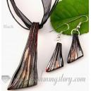 Parure collier + bo verre de murano